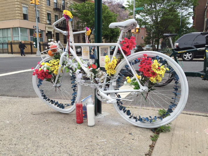 Ghost Bike, Petition, Bicycle, Bike Lane, Classon Avenue, Clinton Hill, NYPD, Brooklyn