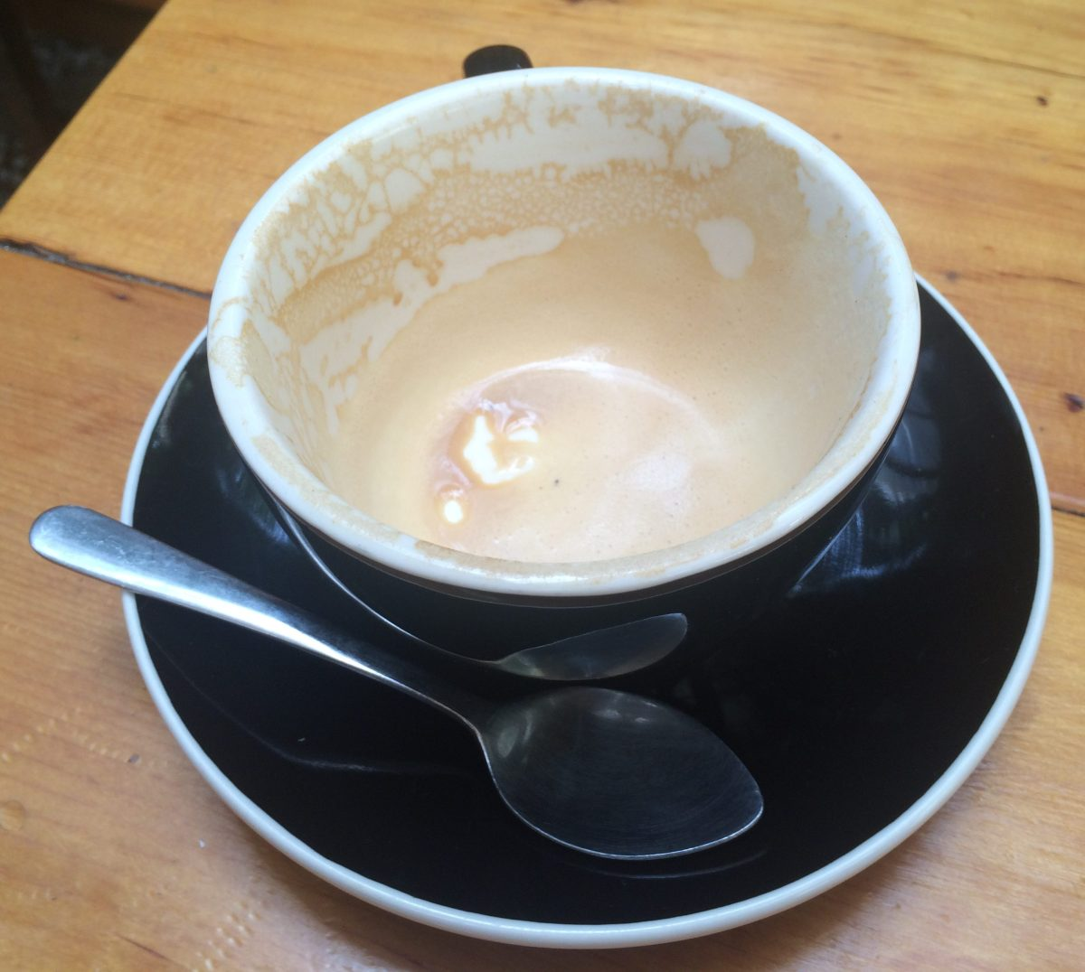Residual cappuccino foam left from a Daily Press cappuccino.