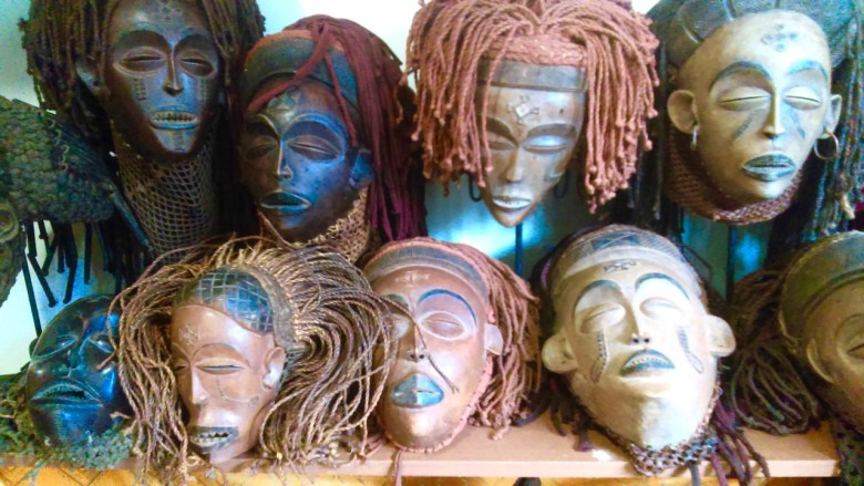 Female beautification masks by the Chokwe people of the Democratic Republic of Congo. On view at the Bedford Stuyvesant Museum of African Art