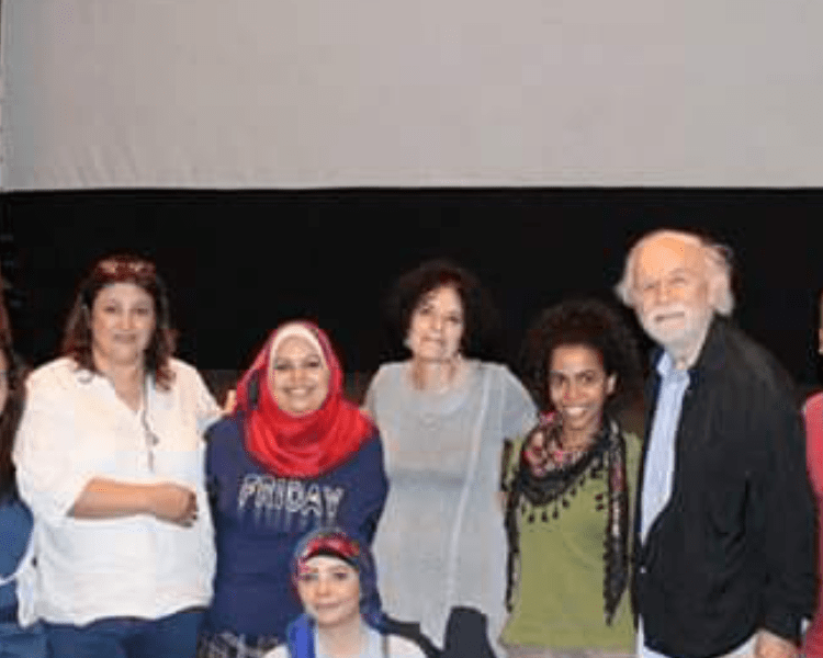 Students in Cairo Playwriting workshop I led, with translator, Effat (l) and actor George Bartenieff (r). Me in the middle with Wafaa, Eman, Nesma.