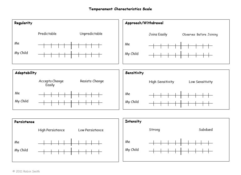 Temperament Characteristic Scale Worksheet completed by parents during home visits