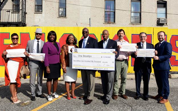 Brooklyn Borough President Eric L. Adams presented honorary checks to organizations that are helping to create and preserve affordable housing throughout the borough. Photo: Erica Sherman/Brooklyn BP's Office