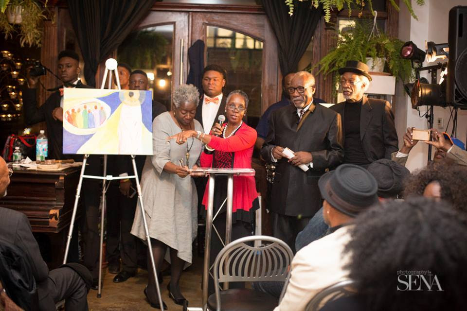 Fedrecia Hartley, founder and owner of Zion Gallery, at the Painting it Forward 2015 art auction.