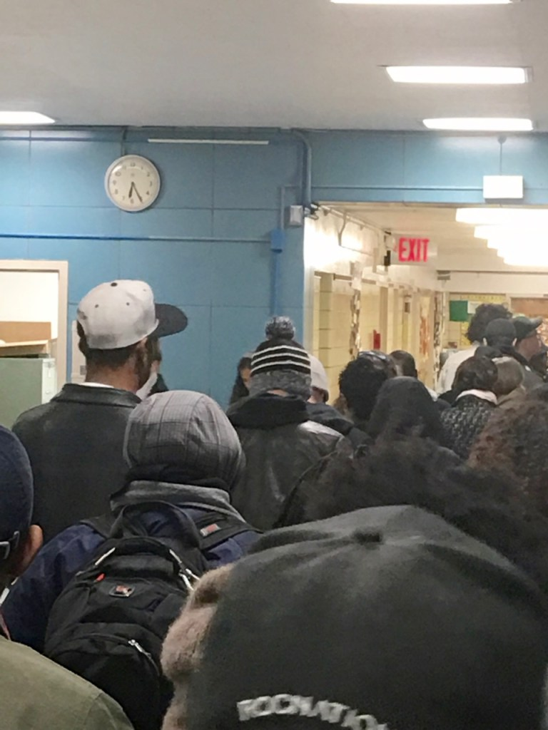 The polling site at P.S. 256 in Bed-Stuy was packed by 6:30am