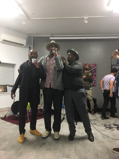 (l to r): Richard Beavers with The Originals band members Tai Allen and Entrified at the 9th Anniversary Celebration of Richard Beavers Gallery
