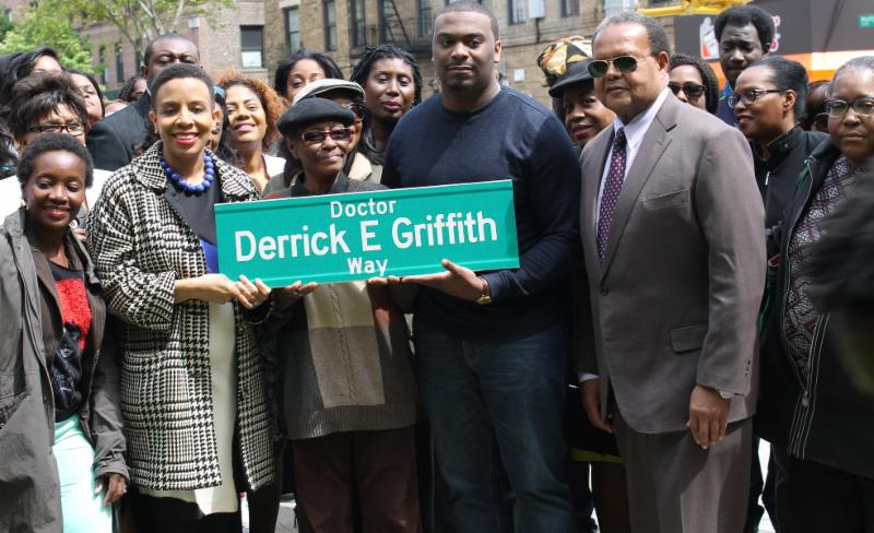 Dr. Derrick E. Griffith, Dr. Griffith, City Councilmember Laurie Cumbo, Laurie A. Cumbo, Bronx CUNY Preparatory School, Medgar Evers College, Phi Beta Sigma Fraternity, Dr. Derrck E. Griffith Way, Dr. Rudy Crew, State Senator Jesse Hamilton ,