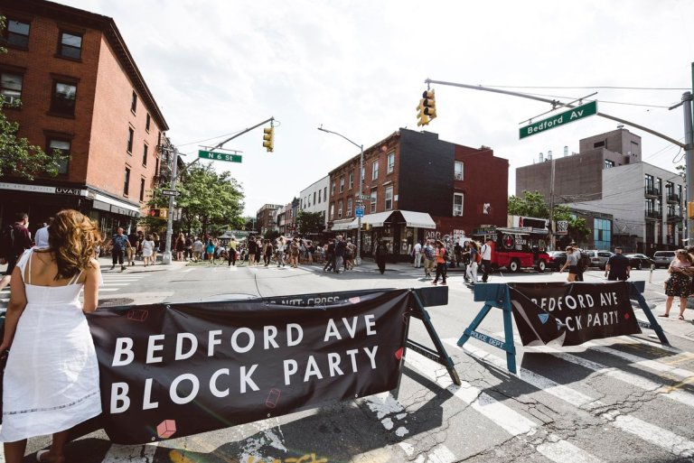 The beginning of the Bedford Ave Block Party.