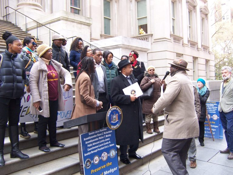 Medgar Evers College Preparatory School, DOE, Department of Education, MECP, centralized admissions, new policy, rally, protest, Jesse Hamilton, Kevin McCall, Will Martel, Norelda Cotterel