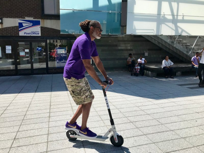 Robert Cornegy had seemingly fun taking the e-scooter on a spin.