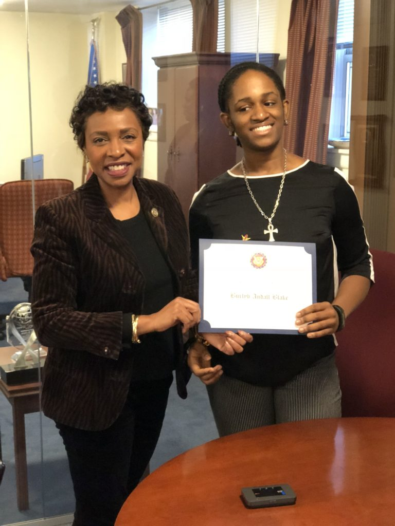 Congresswoman Yvette D. Clarke with the 2017 winner Burlyn Andall Blake. Photo courtesy Office of Congresswoman Yvette D. Clarke