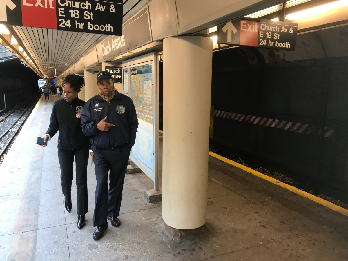 BP Eric Adams joined by elected officials held a rally on Monday to decry a heinous Flatbush subway attack as a hate crime.
