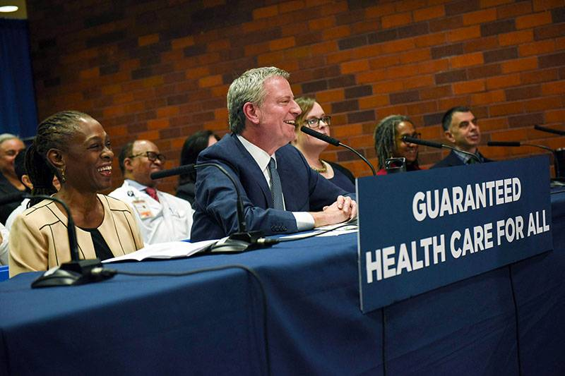 Mayor Bill de Blasio announced on Tuesday health care coverage for all New Yorkers.