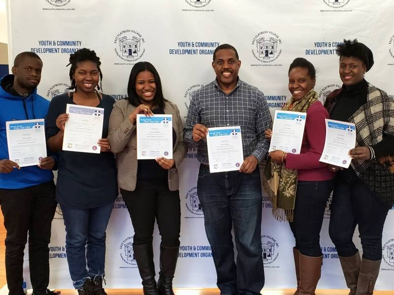 Senator Kevin Parker and his team participated in an eight-hour Mental Health First Aid course held by ThriveNYCat this Flatbush office on Saturday.
