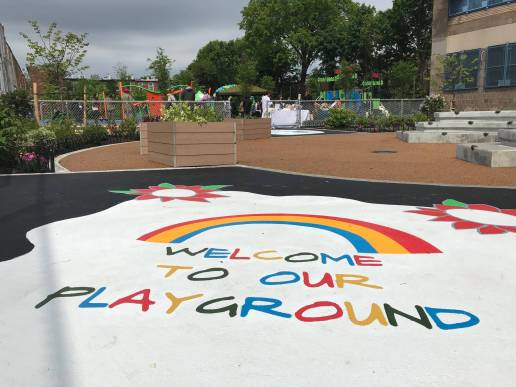 Entrance to the new Crown Heights playground
