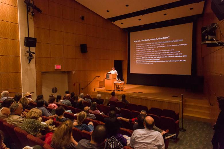 """Rachel Miller taking questions at the American Jewish Historical Society's """"Out of the Box"""" event at the Center for Jewish History"""