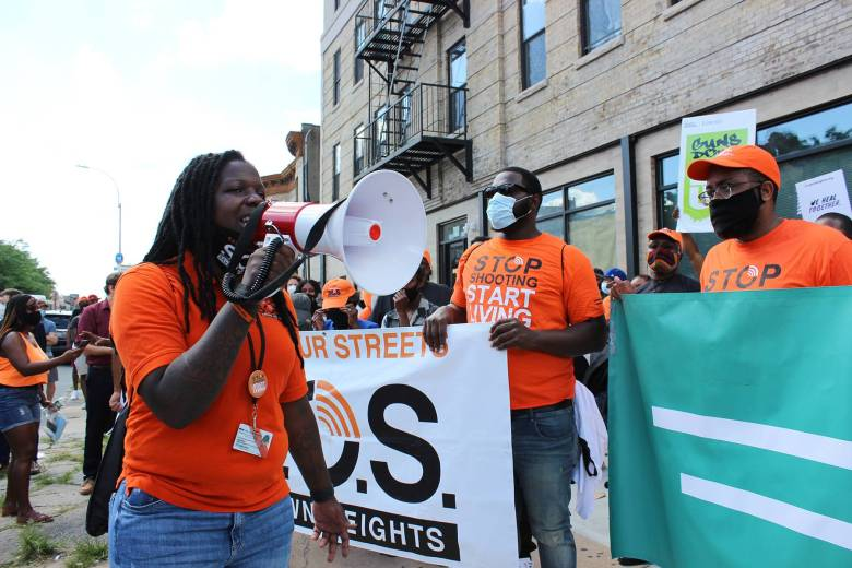 Marchers rallied against the spike in gun violence in Crown Heights on Tuesday. Photo: Mateo Ruiz Gonzalez for BK Reader.