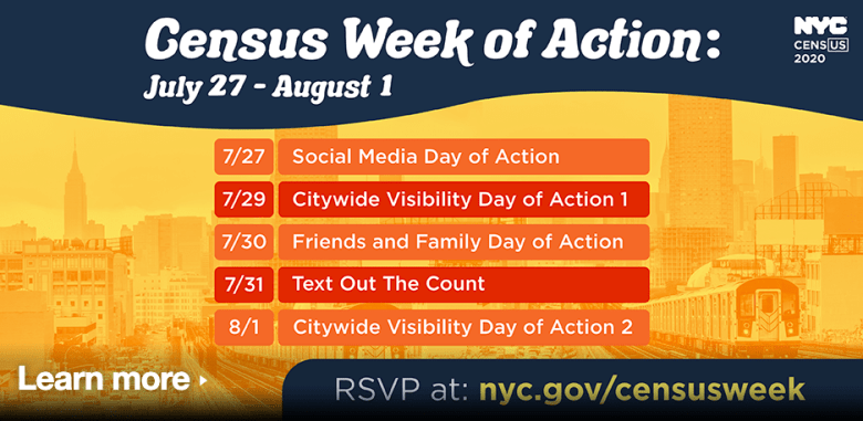 Plan for New York Census Week of Action. Graphics from NYC.Gov