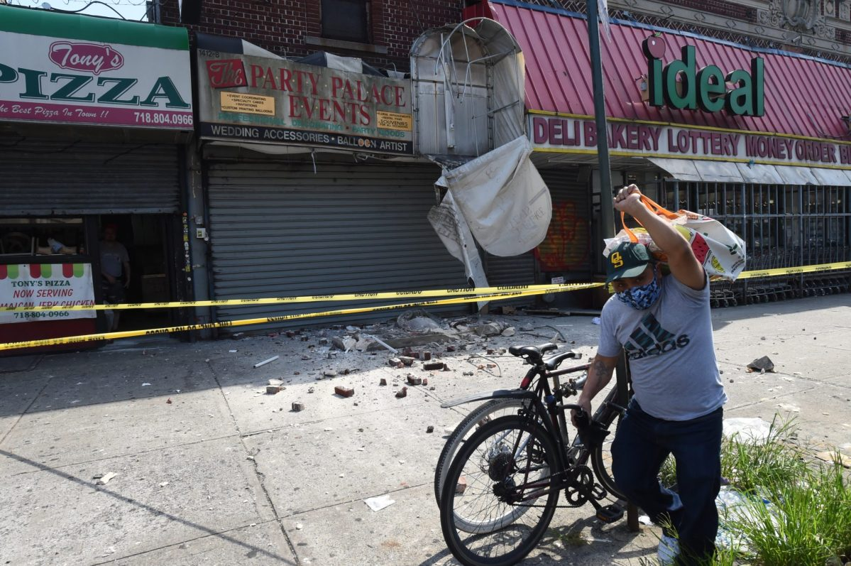 Facade collapse from Brooklyn supermarket leaves one man injured
