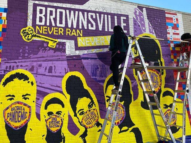 youth design center, mural, BLM, Brownsvile