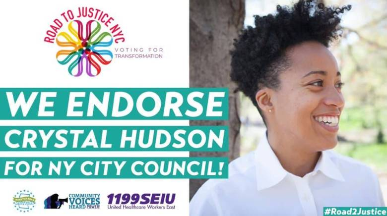 Road to Justice NYC endorsed Crystal Hudson for City Council.