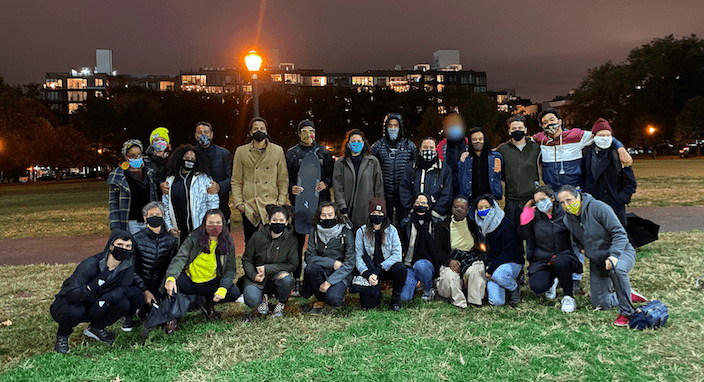 The neighbors on their 150 night of gathering at McCarren Park. The group has been gathering nightly since the murder of George Floyd. Photo: Supplied.