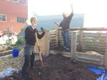 Hilary: Local barista and graphic designer, Hilary, voluntarily turns our compost piles weekly with the help of extra hands (like Dan in the back).