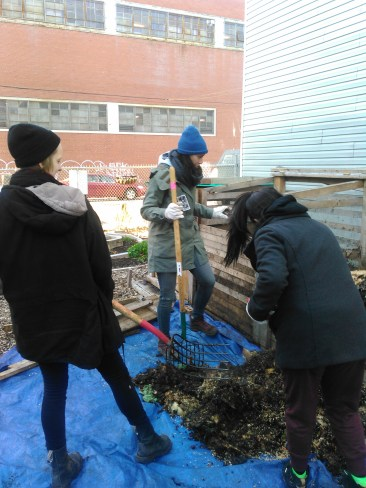 A few of the BK ROT team turning one of our compost bins.