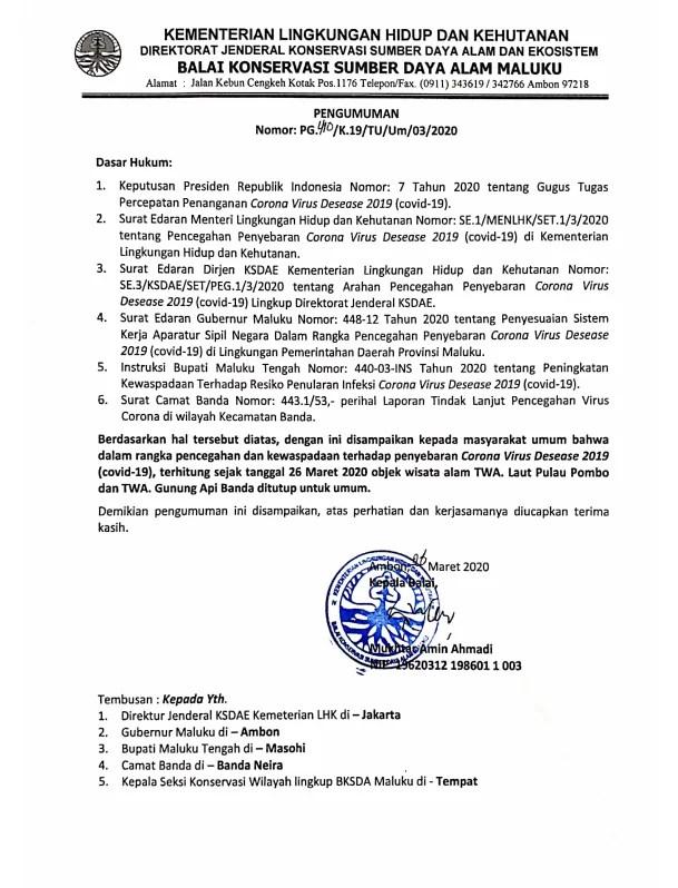 Surat Resmi Penutupan Objek Wisata TWAL Pulau Pombo dan TWA Pulau Gunung Api Banda Karena COVID-19