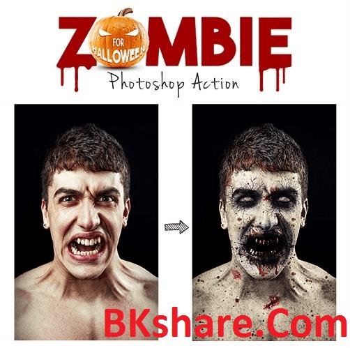 Zombie Photoshop Action tạo hiệu ứng kinh dị trên khuôn mặt