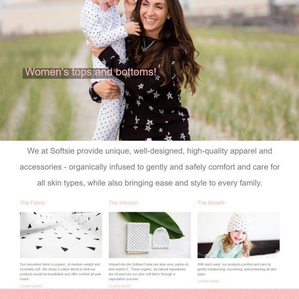 Softsie Shopify website