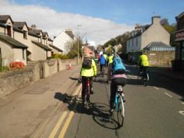 Cyclists head towards Ness Bridge