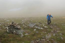 Approaching the bealach below Sron Liath in the cloud.