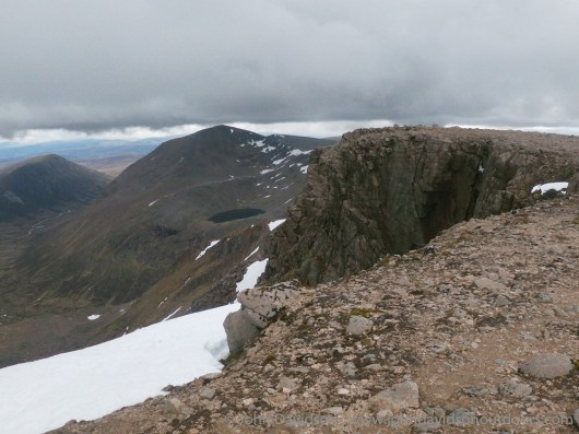 From Braeriach over Coire Bhrochain to Lochain Uaine and Cairn Toul, with Carn a' Mhaim in the distance to the left.