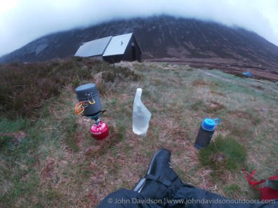 View of Corrour bothy from the tent as dinner cooks.