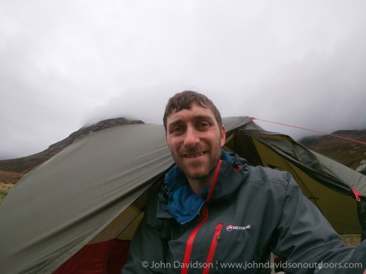 John at his camp near Corrour bothy.
