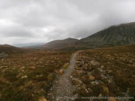 The long descent off Braeriach on the approach to the Lairig Ghru, with the climb up to the Chalamain Gap visible beyond.