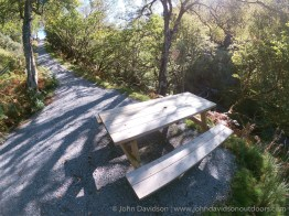 Picnic bench before a steep climb after crossing the Allt Doe.