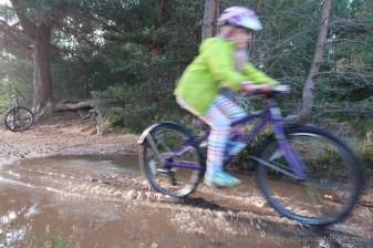 Speeding through the puddles.