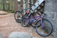 Bikes at the Cairngorm Club Bridge.