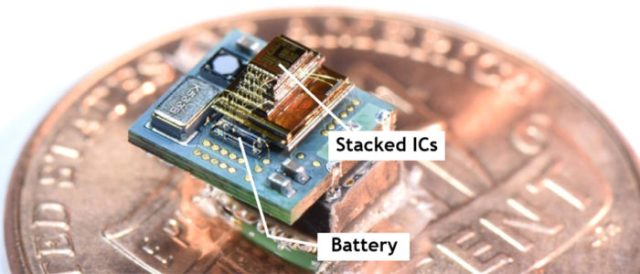 Stacked IC and battery on top of penny