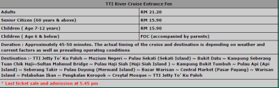TTI river cruise ticket price