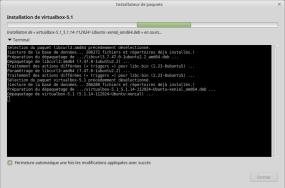 """L'instance """"Terminal"""" permet de voir les tâches effectuées par le script d'installation VirtualBox"""