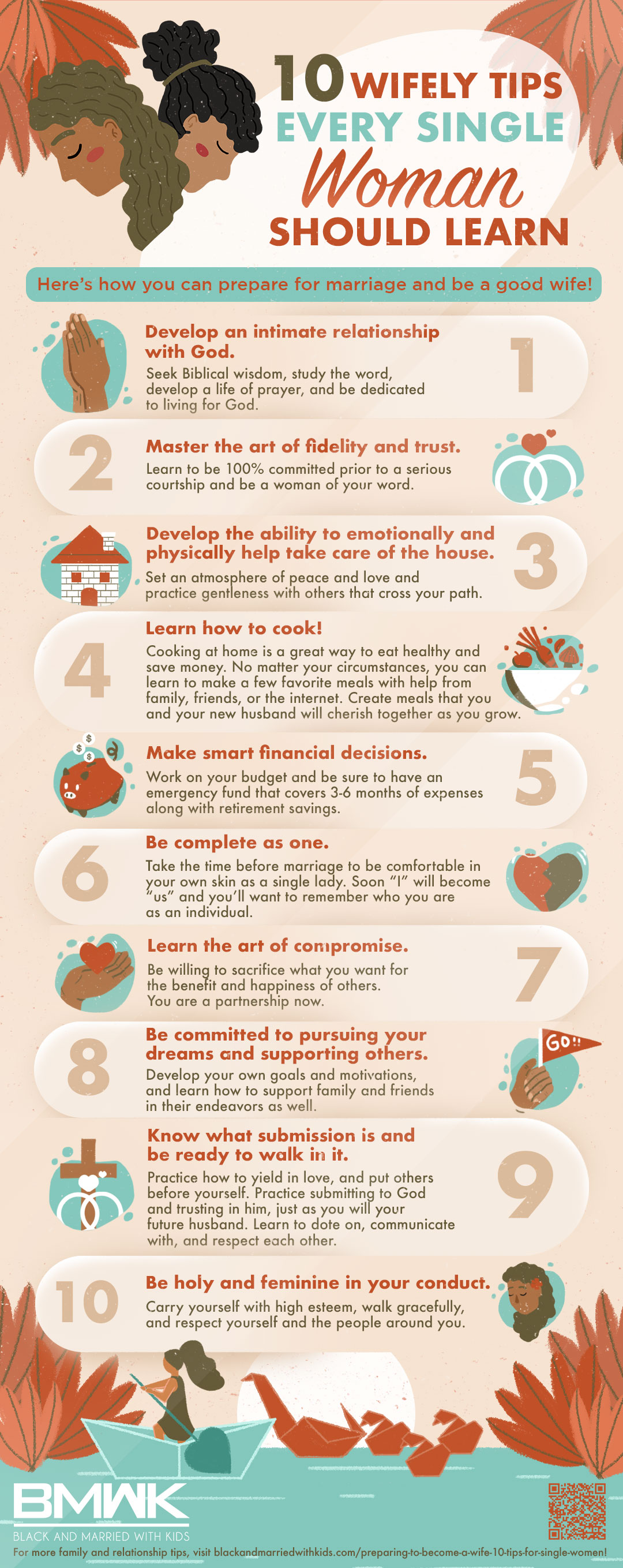 infographic | Preparing To Become A Wife: 10 Tips For Single Women