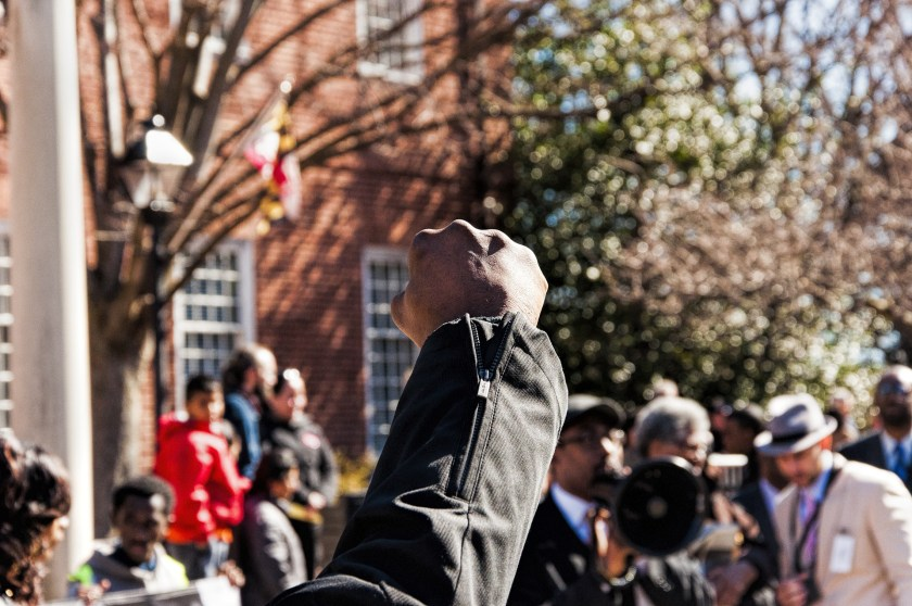 photo of a black fist raised over a crowd