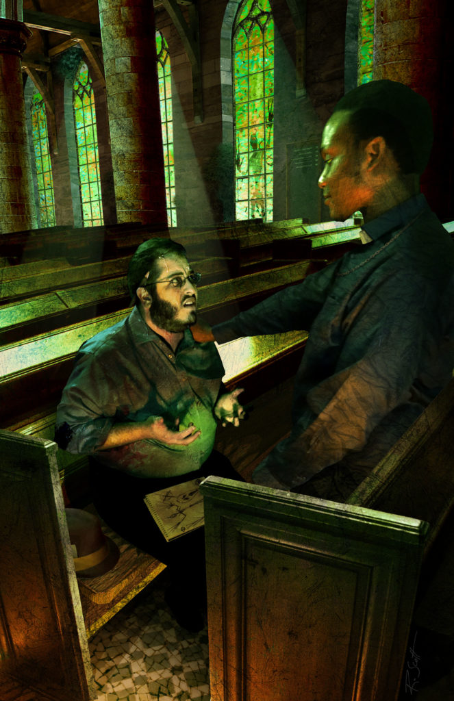 One of the illustrations for Lovecraftesque: a priest stands amongst the pews of a church, comforting a visibly stressed man, in whose lap is a notebook filled with drawings of a scary figure. In the background, the same scary figure is just visible pressed up against a stained glass window.