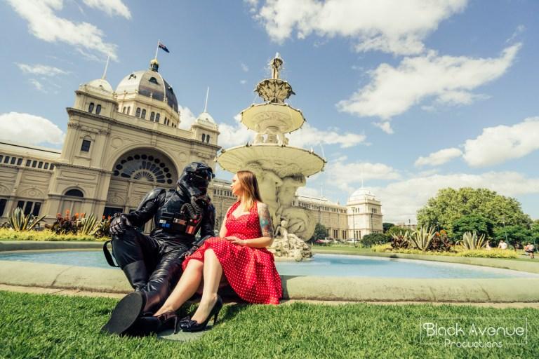 墨爾本婚拍 皇家展覽館  Royal Exhibition Building 噴水池 黑兵 Death Trooper 星戰 star wars