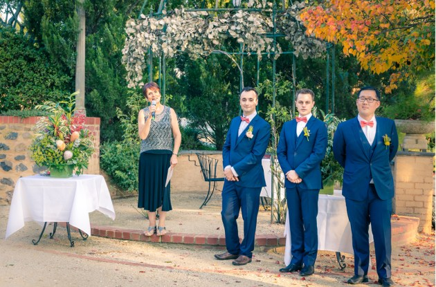 groom and groomsmen waiting for bride moment at wedding ceremony in Emu Bottom Homestead
