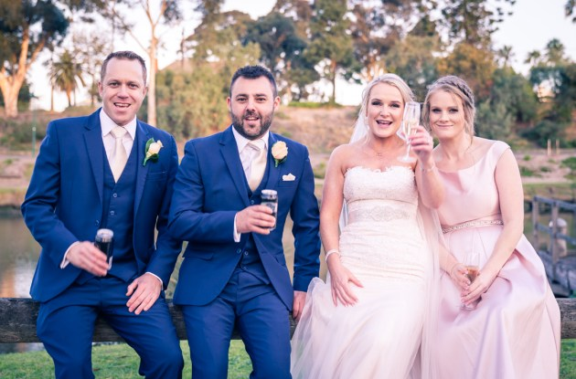 Yarra Valley wedding photography showing bridal party cheer to the camera