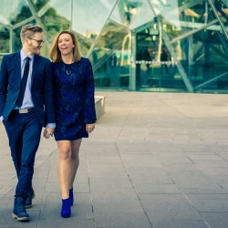 cool couple walking along ACMI and Federation Square for their engagement photo shoot 2018