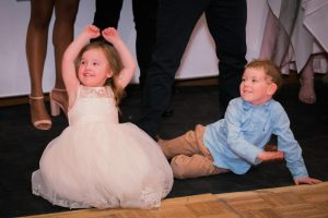 Melbourne flower girl and page boy having fun in a wedding venue dance floor